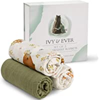 IVY & EVER Organic Cotton Muslin Swaddle Blankets Unisex - Woodland Baby Swaddle Wrap Nursery Receiving Blankets Neutral…