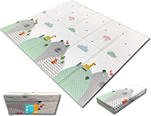 Fun N Well Foldable XPE Baby Play Mat | King Size 197x178x1cm | Non Allergenic & Non Toxic Foam | Waterproof & Reversible | Fun & Playful Design for Your Kids to Explore | Free Carry Bag for Easy Travel & Storage (Animal Park / Lucky Star)