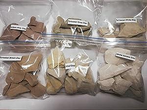 Edible clay, Turkestan white clay, Turkestan gray clay, Turkestan brown clay, White Aktobe clay, Ural clay, Uzbek pink clay