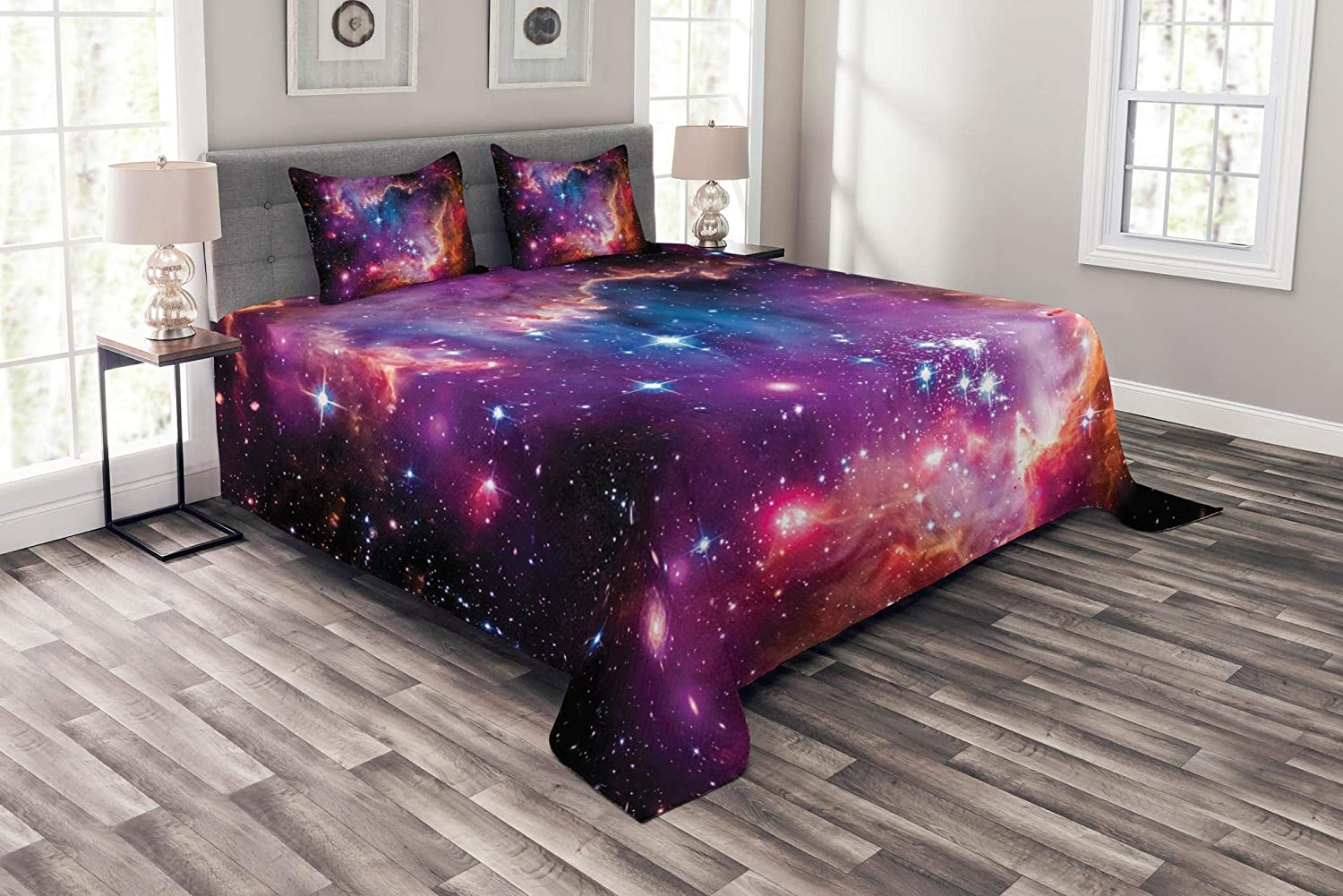 Ambesonne Galaxy Bedspread, Magellanic Cloud Stars and Colorful Cosmic Universe View Pattern, Decorative Quilted 3 Piece Coverlet Set with 2 Pillow Shams, Queen Size, Purple Blue