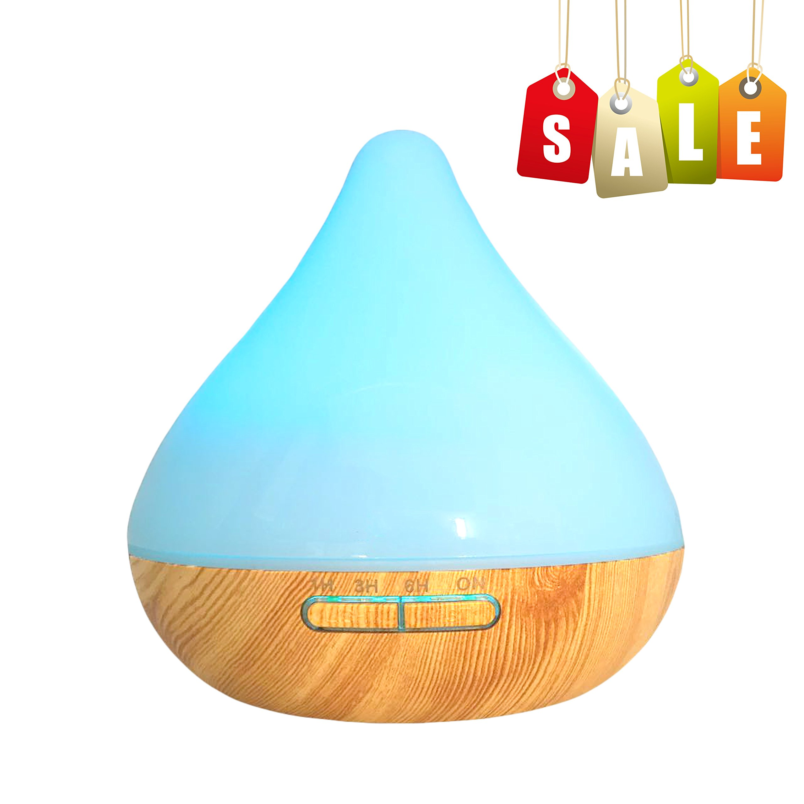 Wisdorigin Essential Oil Diffuser,300ml Aroma Essential Oil Cool Mist Humidifier with Waterless Auto Shut-Off and 7 Color LED Lights Changing for Home Office Bedroom Yoga Spa