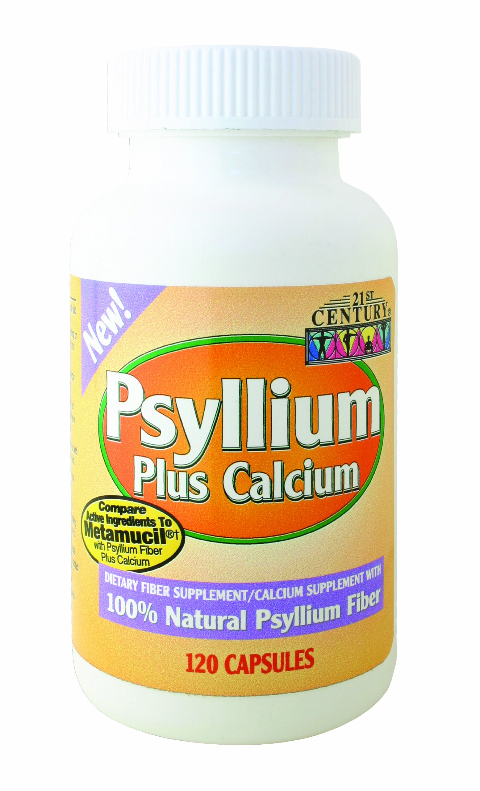 21st Century Psyllium Plus Calcium, 120 Capsules (Pack of 2)