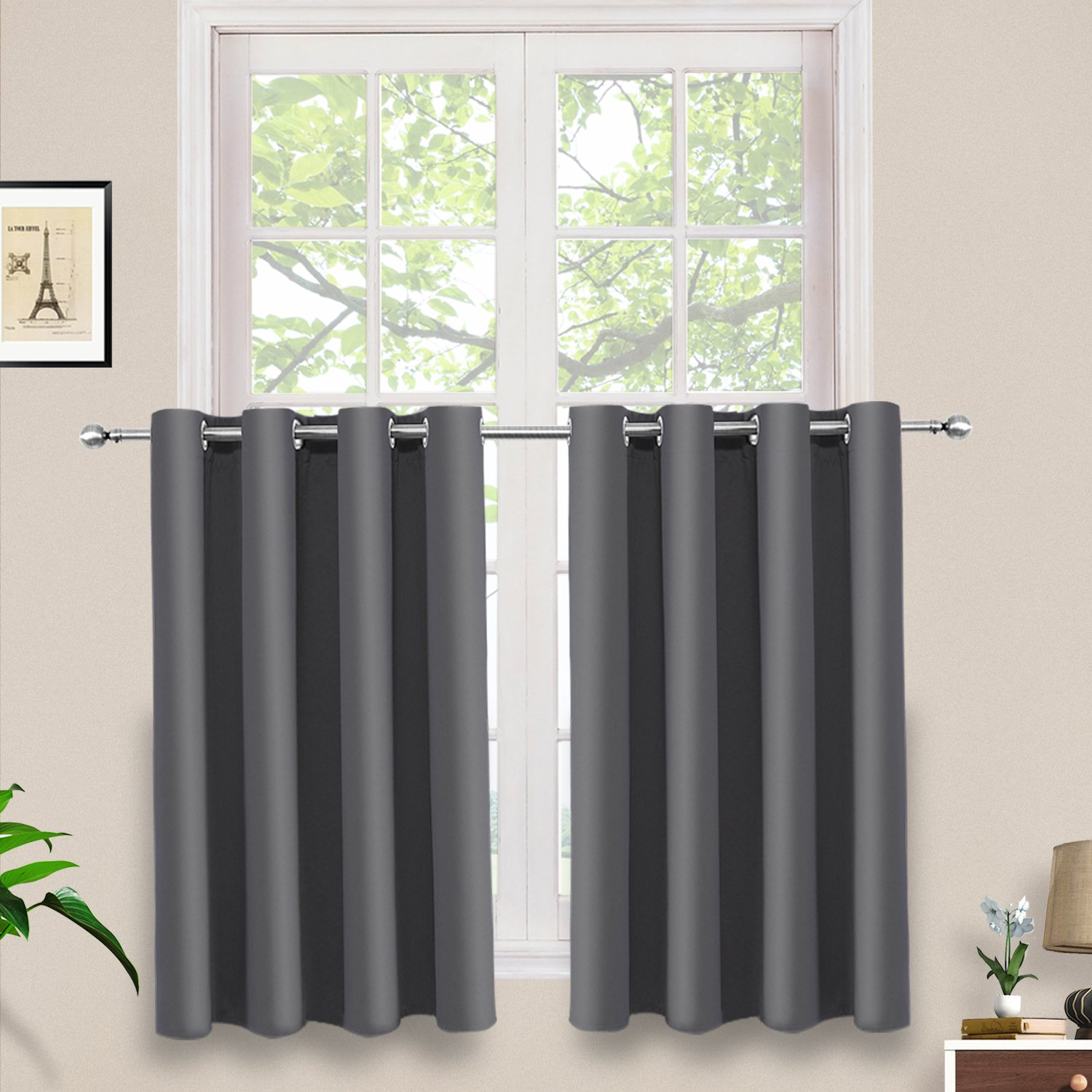 PRAVIVE Gray Blackout Curtain Tier - Thermal Insulated Short Grommet Blind Panel for Small/Half Window/Bedroom Privacy, 52 X 36 Inches, 1 Piece