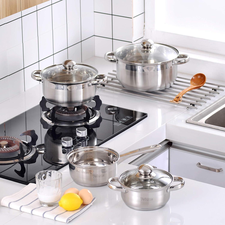 Velaze Juego de Ollas, Batería de Utensilios de Cocina de Cocina de Acero Inoxidable para Todas las Cocinas (7 Piezas)