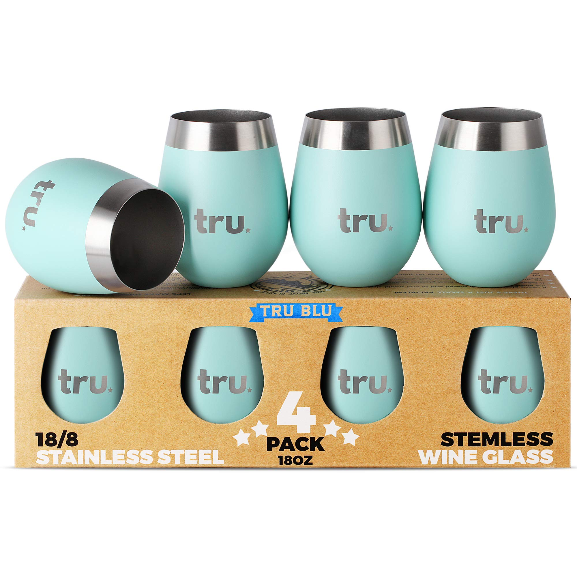 Outdoor Wine Glasses (Set of 4) - Stainless Steel Wine Tumblers 18oz – Stemless Metal Cup for Camping - Travel, Lightweight, Unbreakable, Shatterproof, Portable, BPA Free