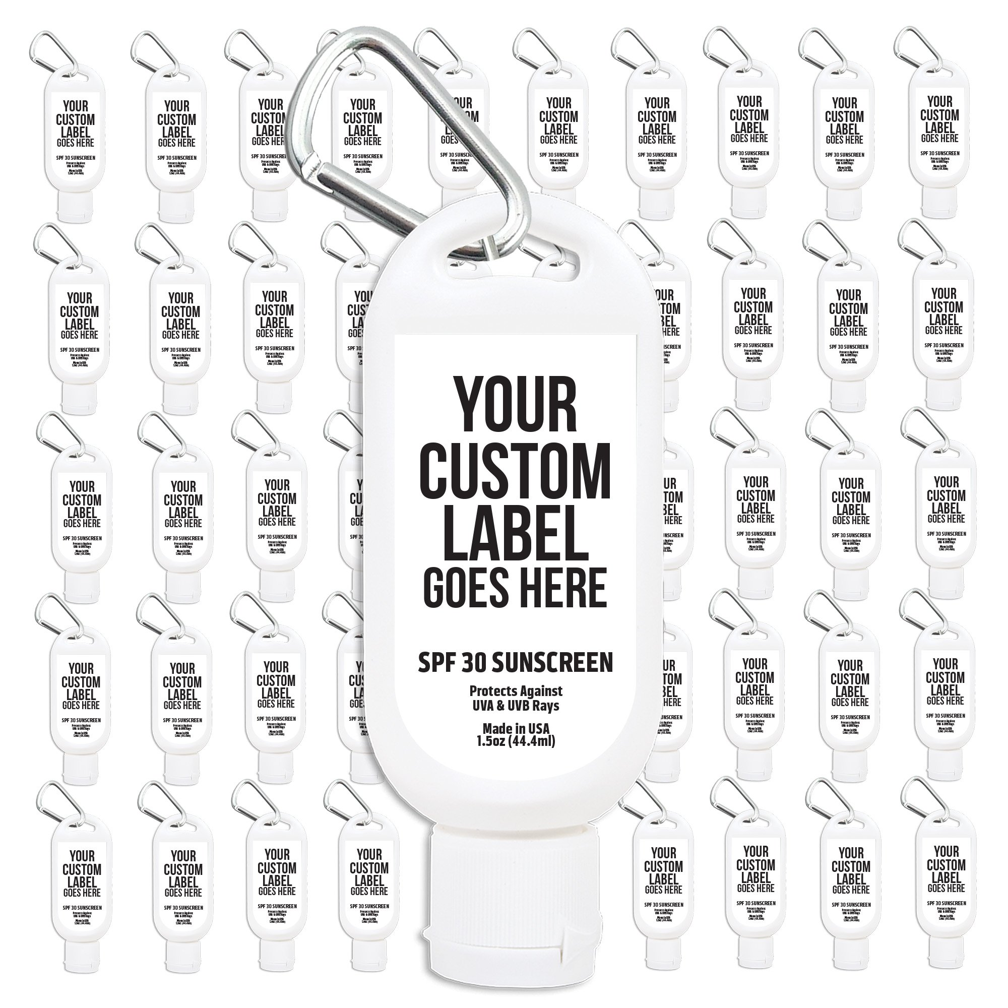 Party Favors 50-Pack Personalized Label Premium SPF 30 Sport Sunscreen with Clips