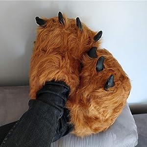 Hausschuhe Braun Monster Kralle Rutschfeste Lustig Plüsch Tierhausschuhe