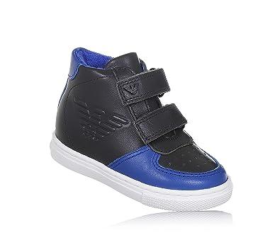 ARMANI - Sneaker gris foncé et bleue en cuir, avec fermeture en velcro,  garçon
