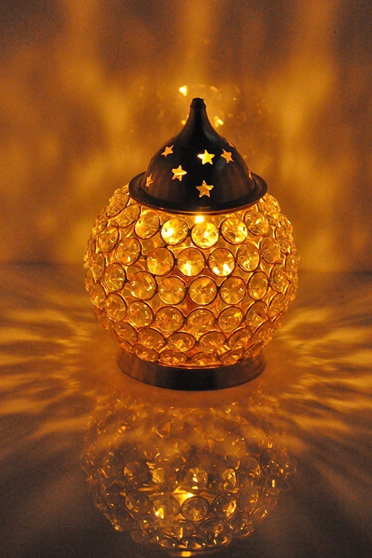 craftvatika Akhand Diya Crystal Brass Oil Lamp In Oval Shape   Diya Diamond Nag Deep Dia