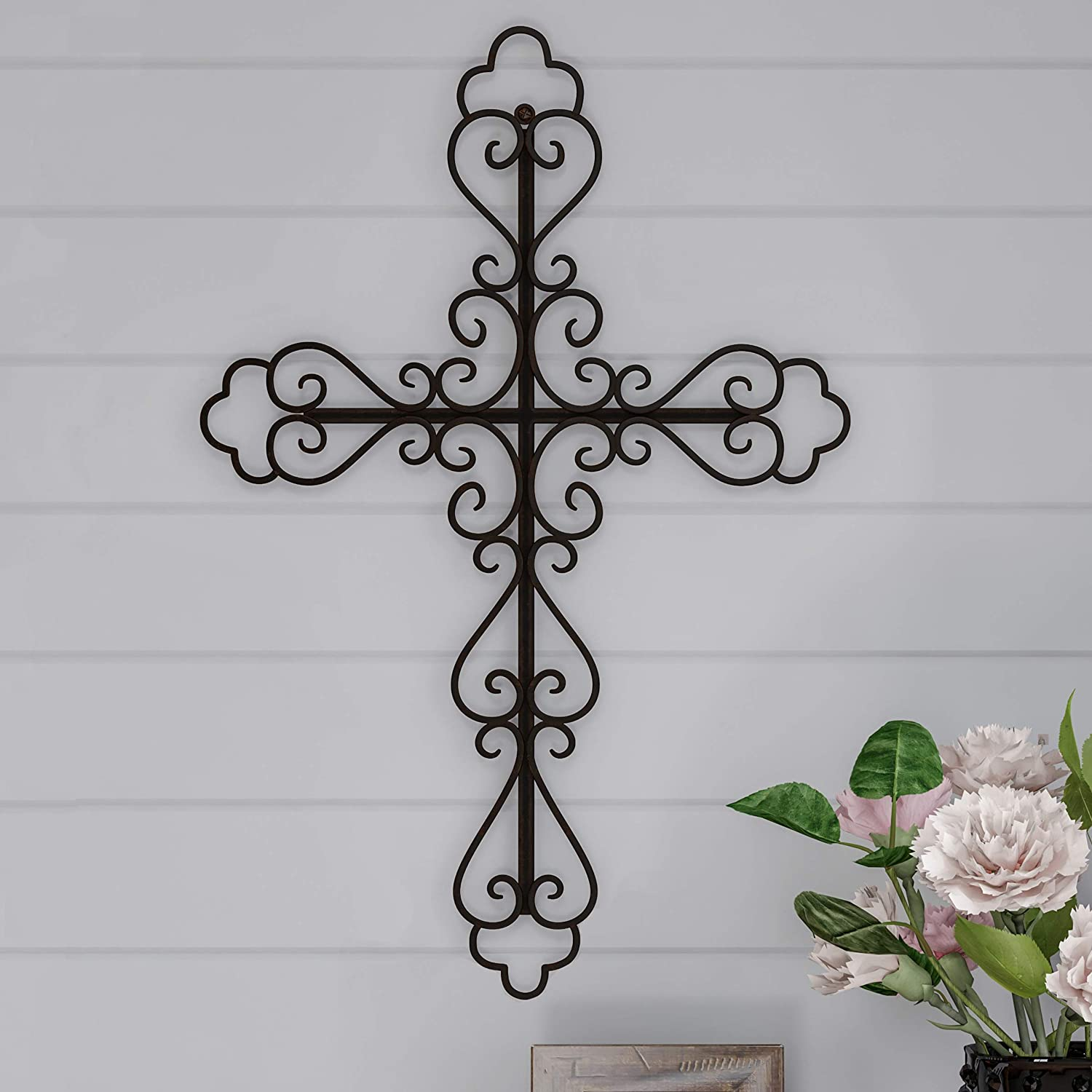 Lavish Home Handmade Short Flat White Mango Wood Vase Metal Cross Fleur De Lis Design-Rustic Handcrafted Religious Wall Art for Decor in Living Room, Bedroom