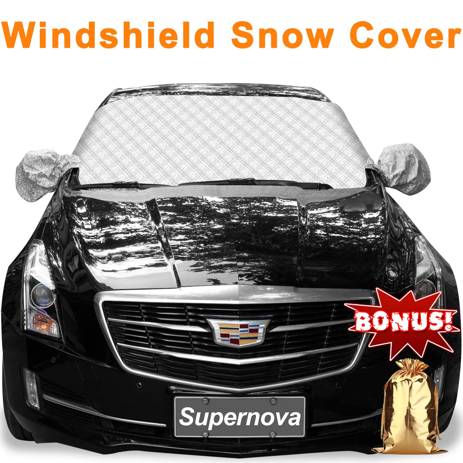 Supernova Car Windshield and Side Mirror Cover for Snow and Ice Guard & Sun Shade Protector, Fits for Compact Cars, Sedans, Small Crossovers & Small SUVs - 56'(W) X 36'(H) (Standard-size) Small Crossovers & Small SUVs - 56(W) X 36(H) (Standard-size)