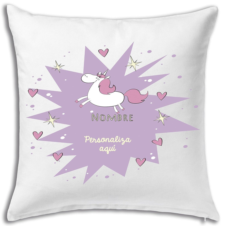 Cojín personalizado 40 x 40 estampados decorados regalo cumpleaños aniversario amor original mensaje unicornio
