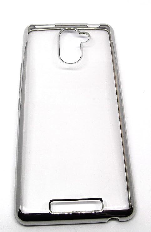 Funda Carcasa Gel Transparente Para BQ AQUARIS U Plus Ultra Fina 0,33mm, Silicona TPU De Alta Resistencia Y Flexibilidad (Borde Plata)