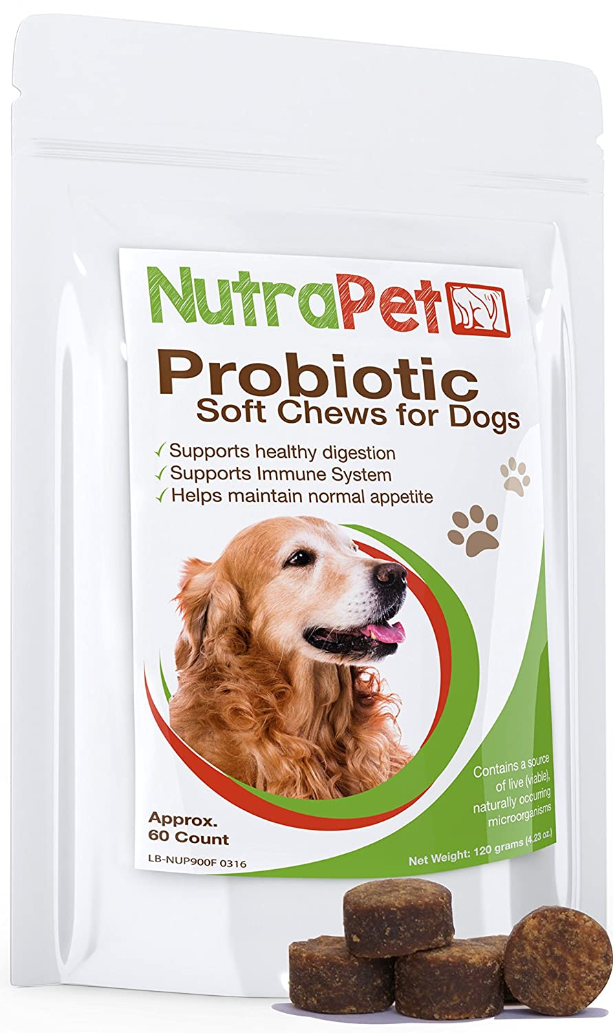 NutraPet - Best Probiotics for Dogs Soft Chews - Diarrhea and Gas Relief in a Tasty Treat - Delicious Chicken Liver Dog Probiotic That Your Pup Will Love! - 60 Count