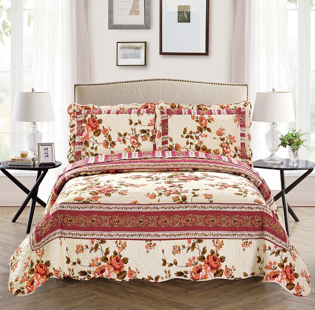 Fancy Collection 3 Pc Bedspread Bed Cover Beige Pink Floral Queen Over Size 100''x106''