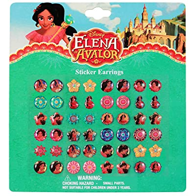 KidPlay Products Disney Elena of Avalor Sticker Earrings 24 Pair Dress Up Jewelry Gift Set: Toys & Games
