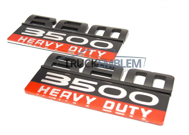 2 NEW OEM 07-12 CUSTOM MATTE BLACK DODGE RAM 3500 HEAVY DUTY DOOR EMBLEMS BADGES