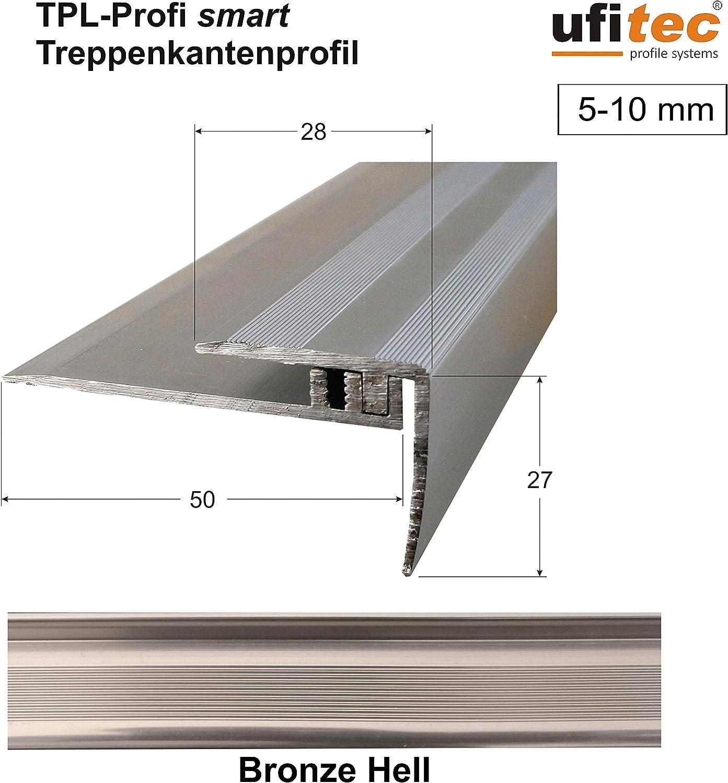 Abschlu/ßprofil - L/änge: 90 cm, Gold ALU eloxiert geeignet f/ür Belagsh/öhen von 5-9 mm Gold - ufitec/® Profi Smart Profilsystem f/ür Vinylb/öden