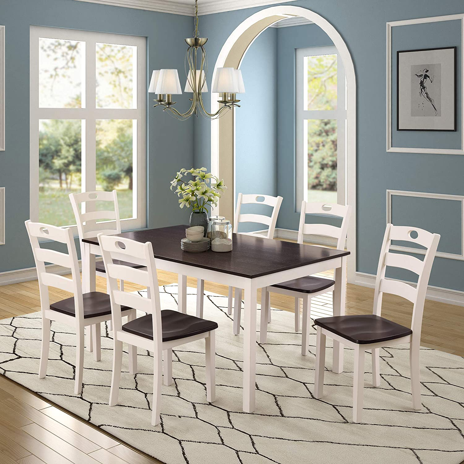 Cungon Online 7 Pieces Dining Table Set with Rectangular Wood Table and 6 Chairs Kitchen Dining Room Furniture White and Espresso