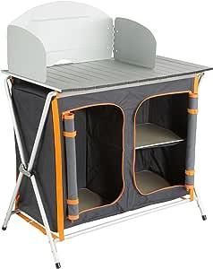Ultrasport Cocina de camping, armario plegable con 3 compartimentos y encimera para utensilios de cocina, alimentos, con protección contra viento y ...