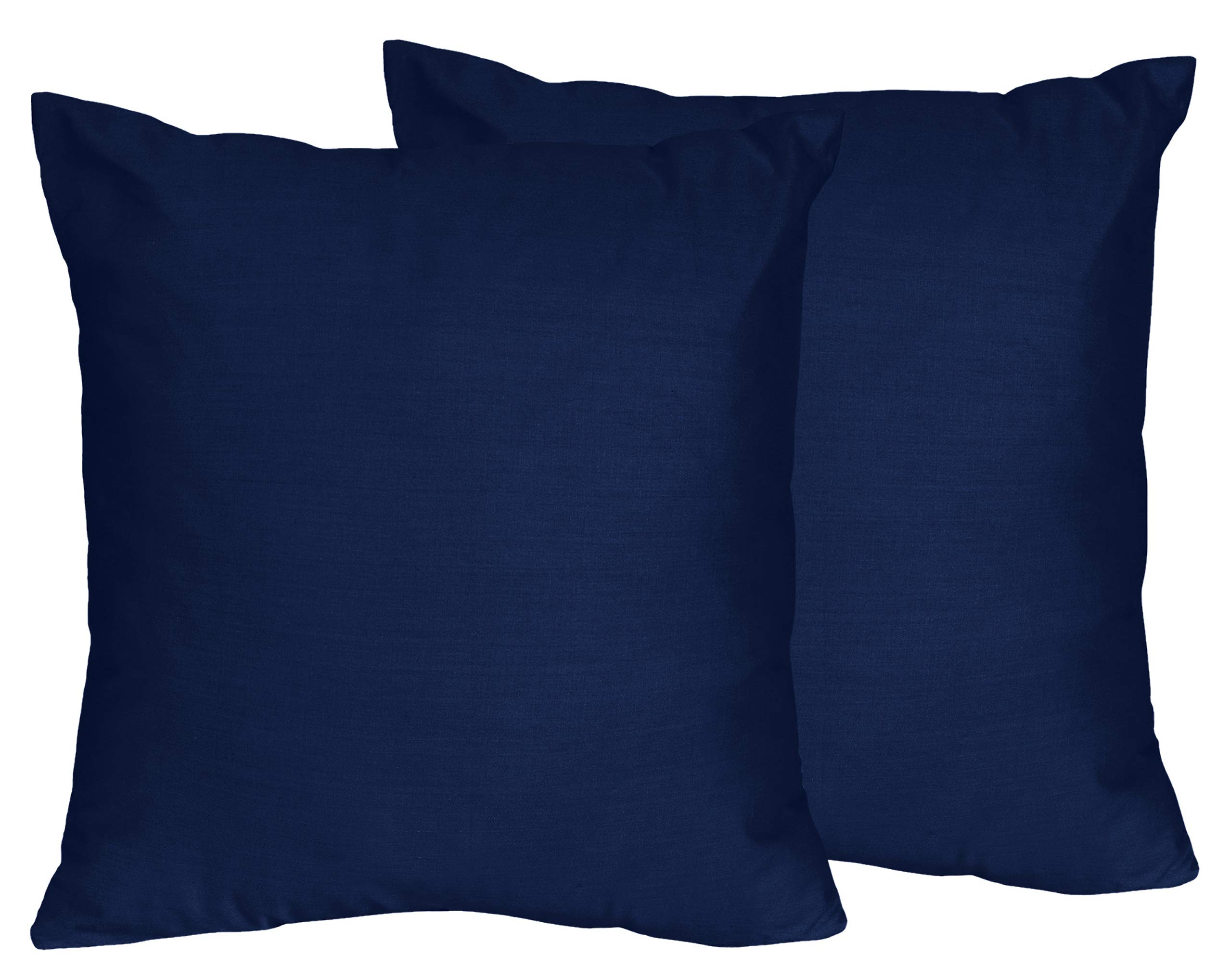 Sweet Jojo Designs 2-Piece Navy Decorative Accent Throw Pillows for Blue and Orange Stripe Collection by Sweet Jojo Designs