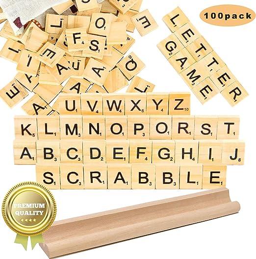 letras scrabble madera Azulejos Scrabble Letras de Madera de Scrabble Artesanía Alfabeto Scrabble Rompecabezas Alfabetos Artesanía: Amazon.es: Hogar