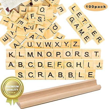 Madholly 169 piezas de madera letras scrabble letras scrabble letras madera juegos significativos para amigos y familiares educaci/ón preescolar para ni/ños