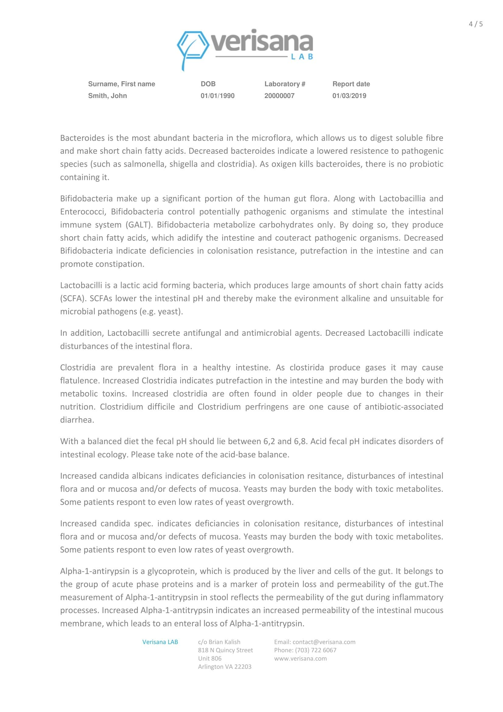 Leaky Gut Complete Stool Test – Determine Leaky Gut Syndrome, Candida & Gut Flora Imbalances – Measures Alpha-1-Antitrypsin, Secretory IGA & Zonulin by Verisana (Image #5)
