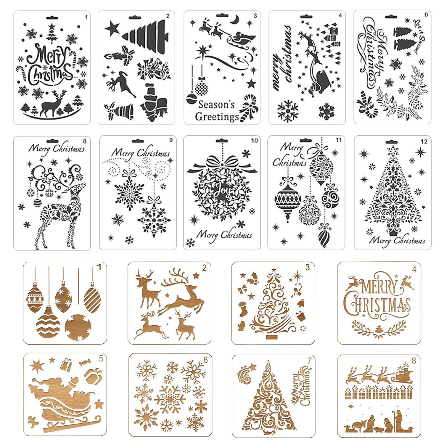 18 Pcs Christmas DIY Painting Drawing Stencils Journal Template Reusable Plastic Craft Stencils Santa Claus Christmas Tree for Gift Card Wood Window Notebook Scrapbook Xmas DIY Decoration Taveky