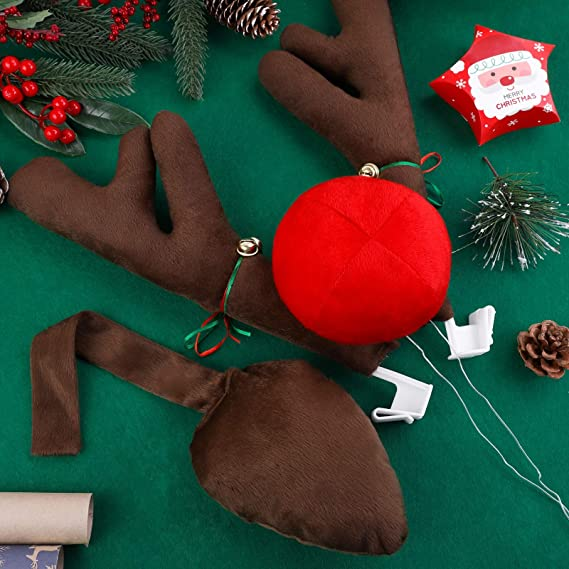 URATOT Christmas Car Decorations Set Christmas Car Reindeer Antlers Elf Hanging Legs Set for Christmas Winter Holiday Decorations