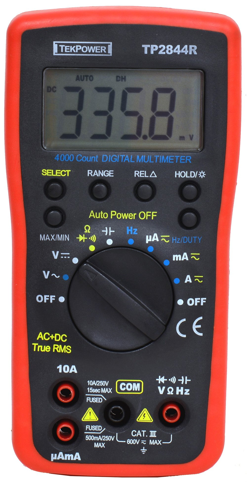 Tekpower TP2844R True RMS Auto-ranging Digital Multimeter For General Purpose With High Accuracy and Resolution, True-RMS