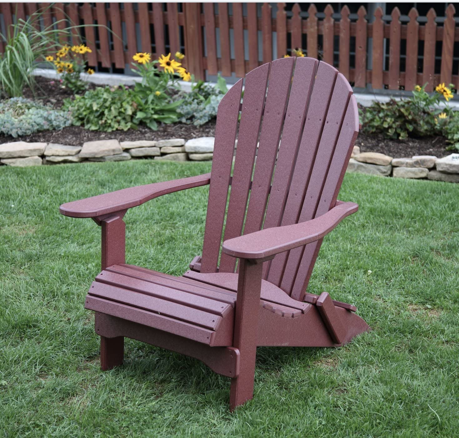 Cherrywood-Poly Lumber Folding Adirondack Chair