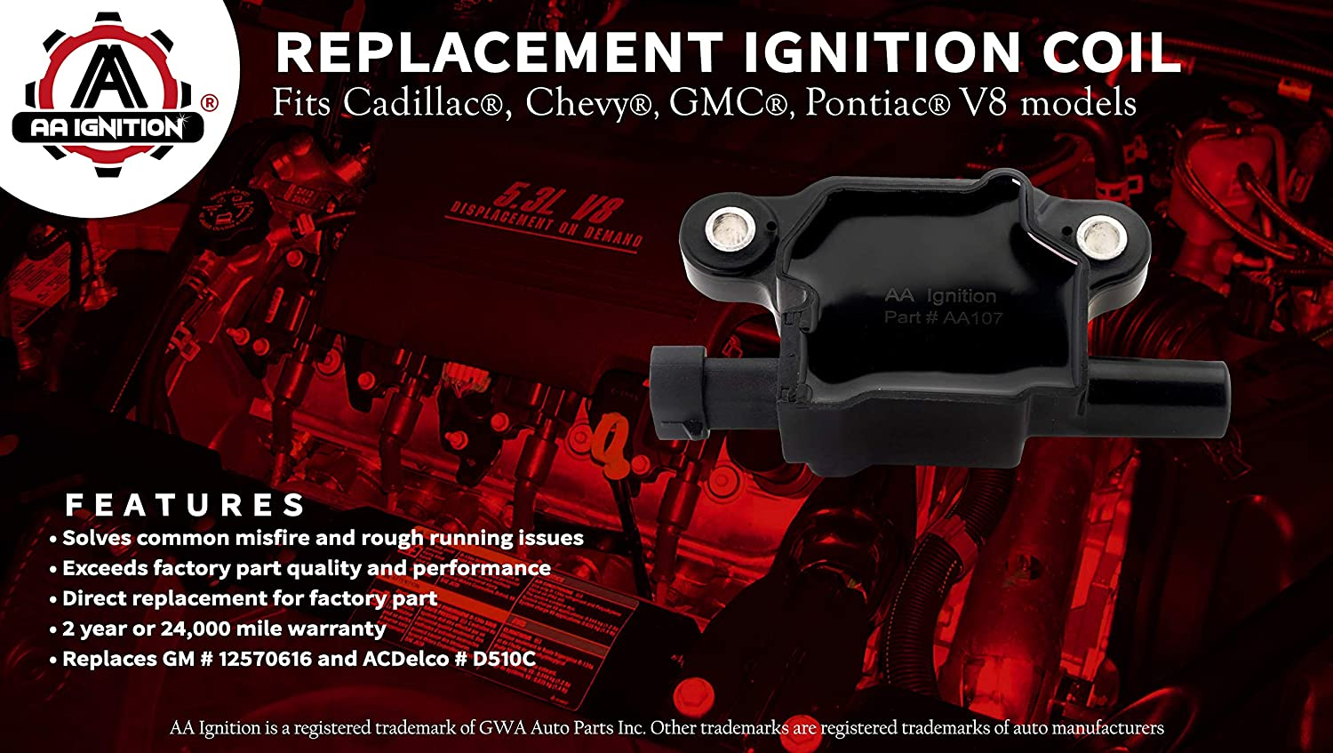 Ignition Coil Pack Replaces Gm 12570616 Acdelco D510c Buzz Box Fits Cadillac Chevrolet Gmc Pontiac 53l 60l V8 G8 Grand Prix H3 Tahoe