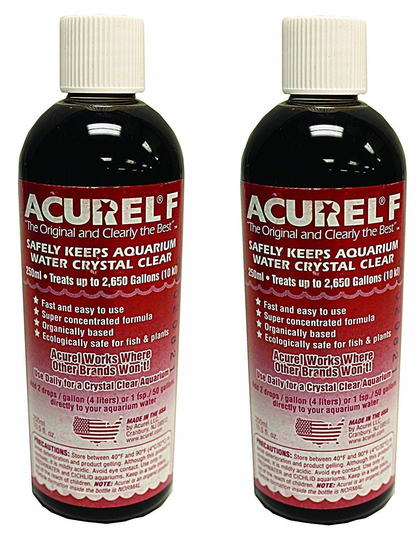 (2 Pack) Acurel F250 Millimeter Water Clarifier, Aquarium, (Each Bottle Treats 2,650 Gallons)