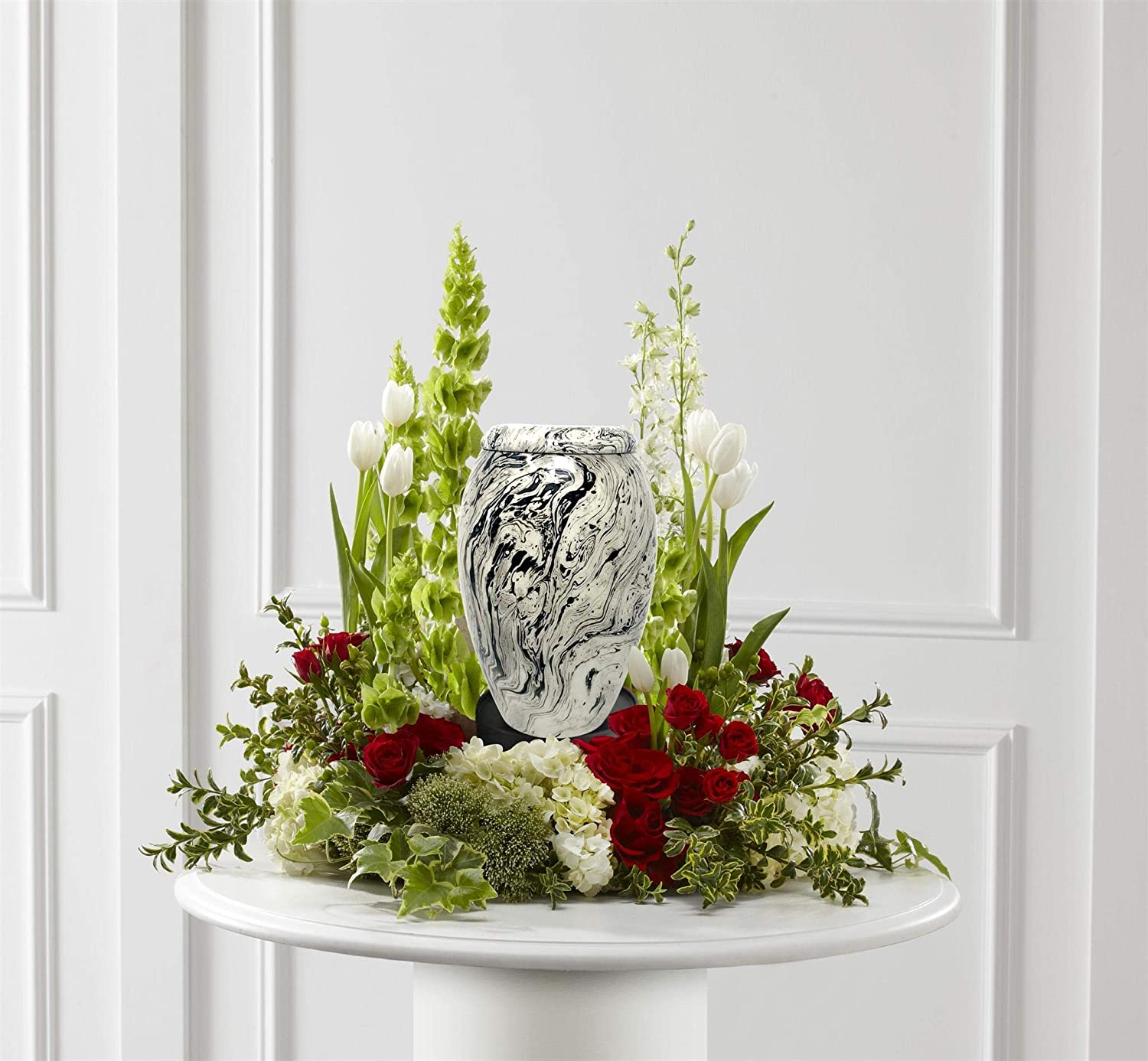 Snow White Cremation Urn – Genuine Solid Metal White Adult Urn – Large White Waves Funeral Urn – 100 Handcrafted Affordable Urn for Human Ashes with Free Bag