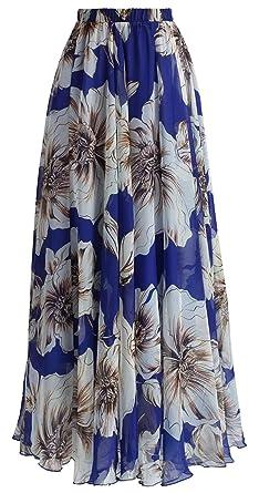 meilleure sélection 3336a e651c La Vogue Jupe Femme Longue Imprimé Floral Chiffon Jupe de Plage