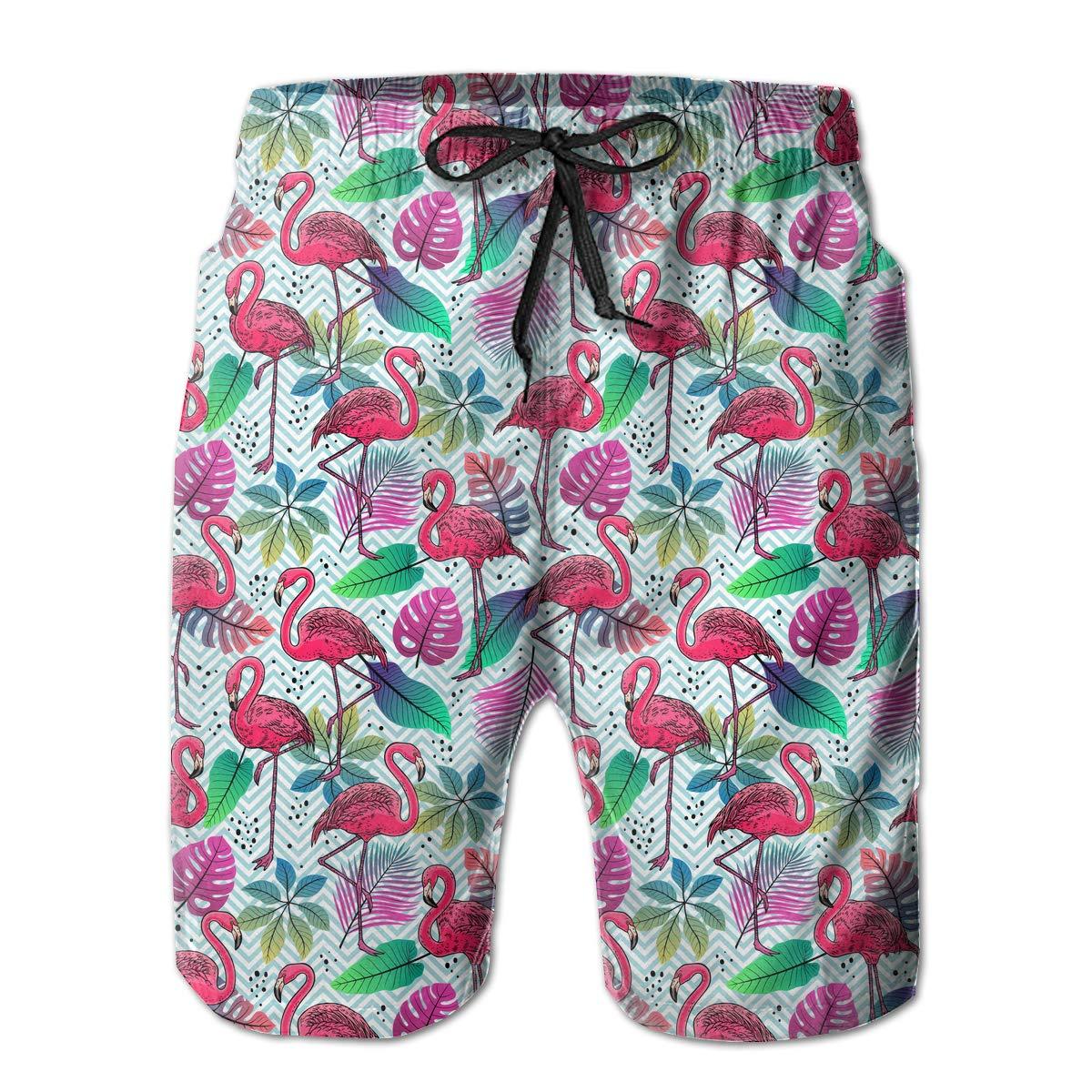 Polyester Pink Flamingos Palm Leaves Pattern Beachwear with Pockets Xk7@KU Mens Quick Dry Swim Trunks
