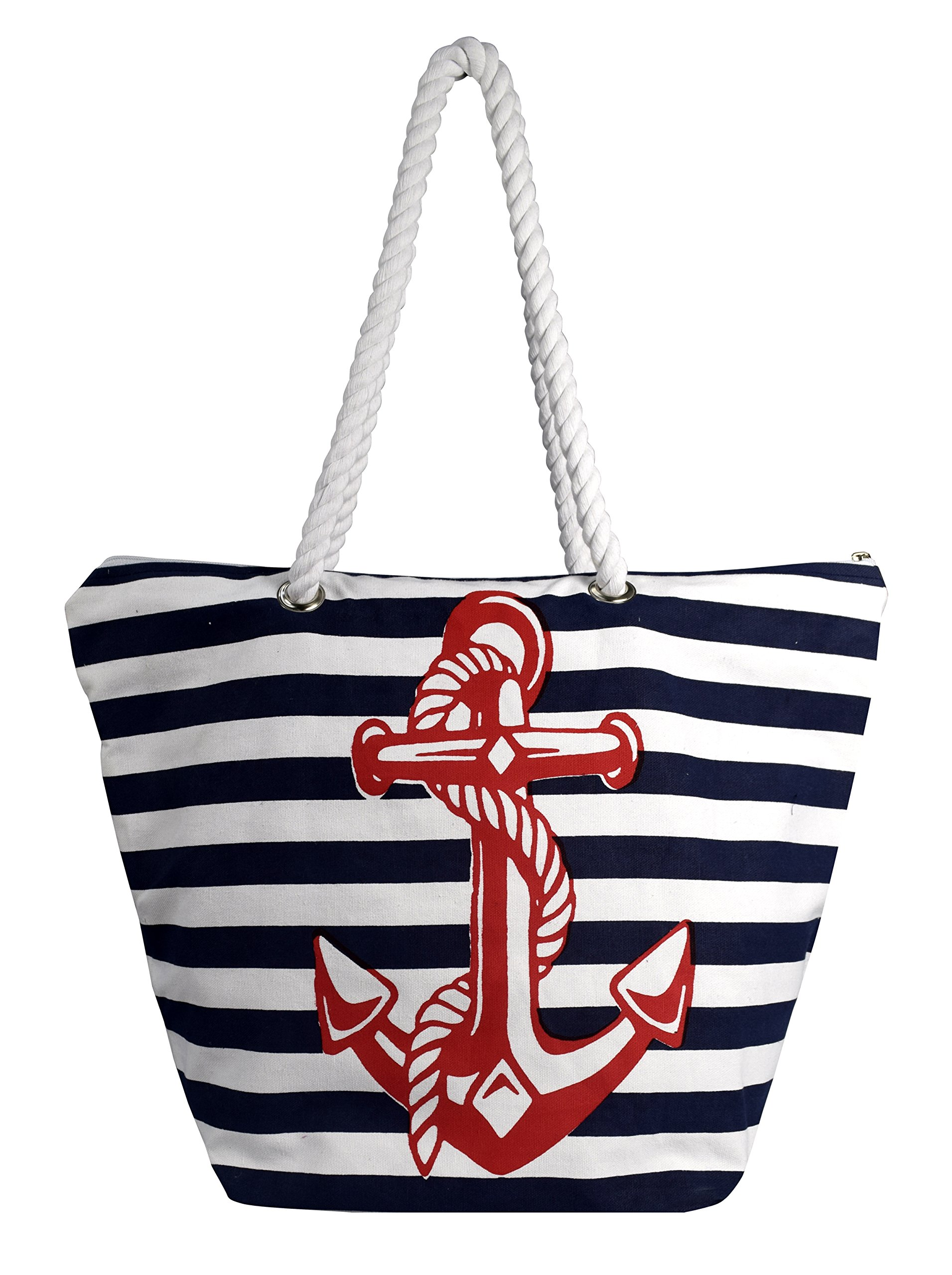 Peach Couture Nautical Anchor Print Bold Stripe Summer Purse Beach Bag Totes (Onesize, Red Blue Anchor)