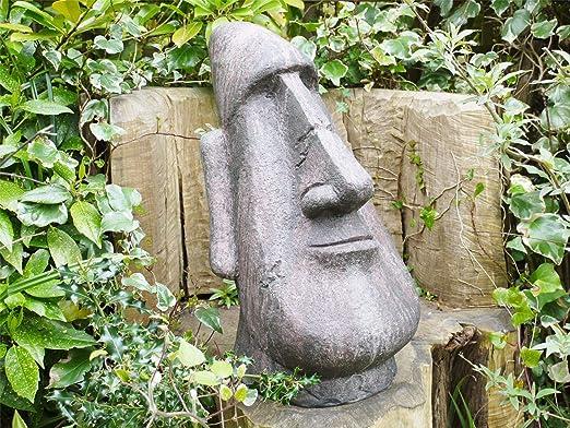 Black Country Metal Works Escultura de jardín con Cabeza de Isla de Pascua: Amazon.es: Hogar