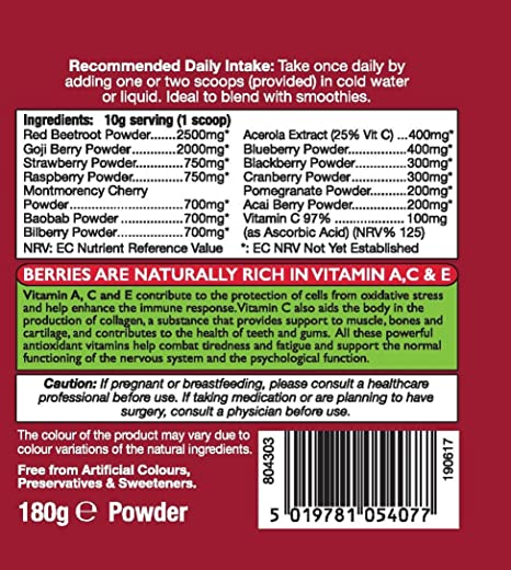 Amazon.com: HealthAid Super bayas polvo Multivitaminas, 180 ...