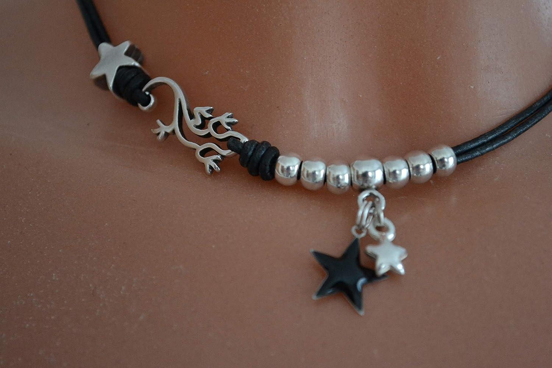 Leder-Kette in schwarz mit wundersch/önem Gecko und Sternen