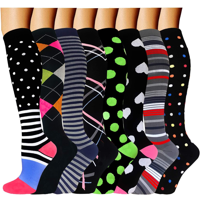 ACTINPUT 8 Pairs Compression Socks Women & Men -Best Medical,Nursing,Hiking,Travel & Flight Socks-Running & Fitness-20-30mmHg (Large/X-Large, Assorted 17) by ACTINPUT