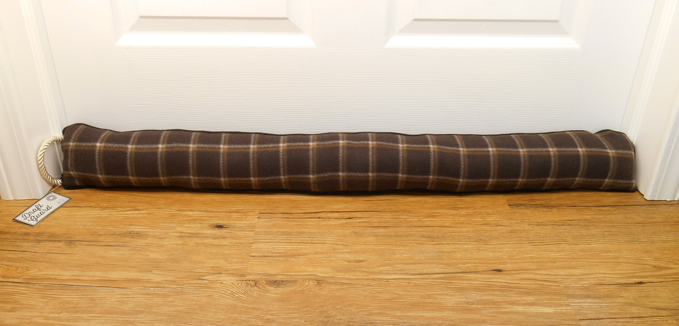Heavy Duty Plaid Fleece Draft Blocker - Save Energy - Keep The Cold Out - 36'' X 4'' (Brown Plaid)