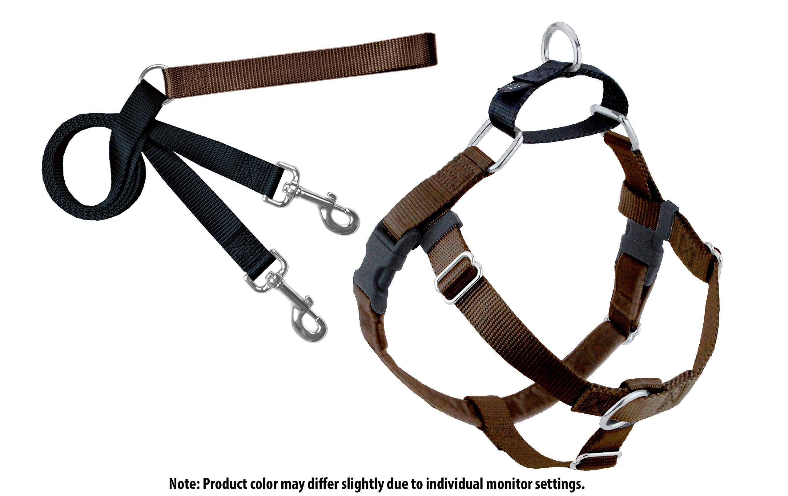 2 Hounds Design Freedom No-Pull Dog Harness with Leash, 2X-Large, 1-Inch Wide, Brown