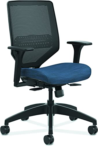 The HON Company HONSVM1ALC90TK HON Solve Mid Task Chair with Mesh Back and Adjustable Lumbar Support, in Midnight HSLVTMMKD