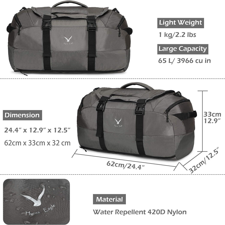 Hynes Eagle Sac de Voyage Sac /à Dos Duffle Sac de Weekender de Sport avec Compartiment /à Chaussures 65L