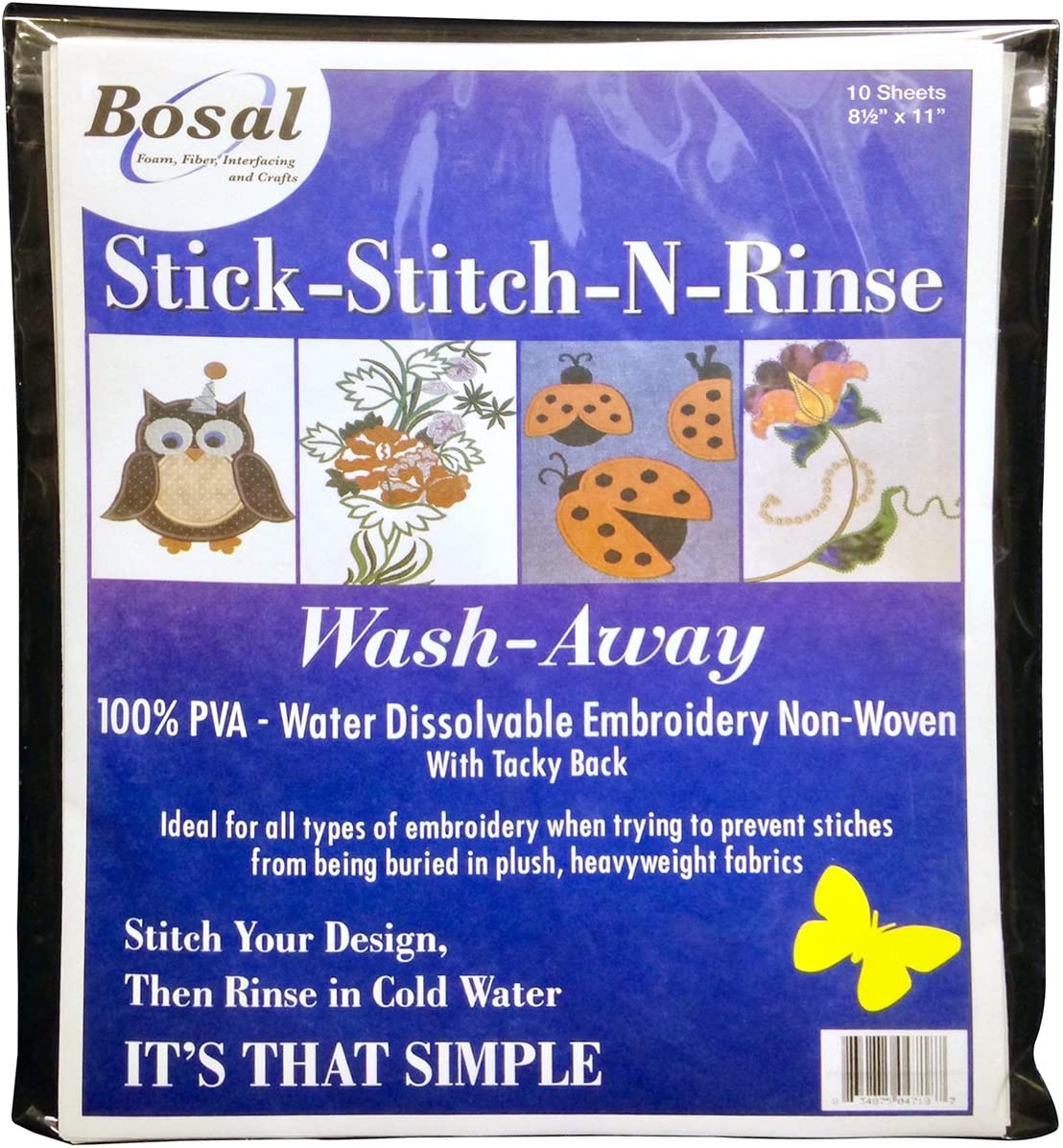 10 Pack 8.5 by 11 Bosal 471-8 Stick-Stitch-N-Rinse Wash-Away Stabilizer