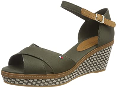 be173c54f2fa Tommy Hilfiger Women s s Iconic Elba Sandal Basic Ankle Strap Green ...