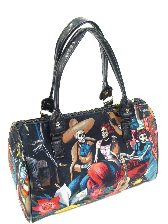 US Handmade Fashion Fiesta DE San Marcos Day Of The Dead Rockabilly Halloween Gothic Doctor Bag Satchel Style Handbag Purse Cotton Fabric, ...