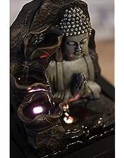 Zen'Light Spirituality Buddha Fountain, Polyresin, Dark Brown, 21 x 21 x 26 cm
